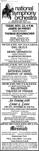 WPAS ad in 22 Nov 1970 Washington Post, incl. Emil Gilels