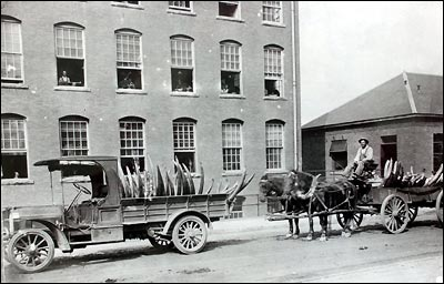 ( DEEP RIVER HISTORICAL SOCIETY ) Tusks are delivered to Pratt Read Company circa 1920's.