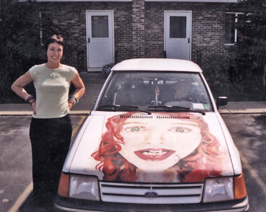 Karen and her Tori car, 1999